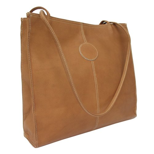 Piel Leather Medium Market Bag, Saddle, One Size