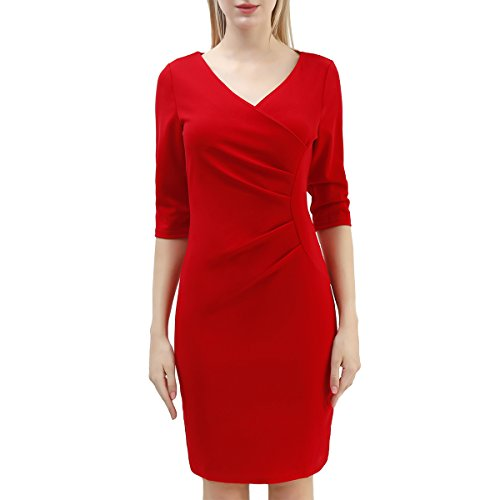 Ruched Silk Sheath Dress (HRMSIUKB Women's 3/4 Sleeve V-Neck Work Office Business Side-Ruched Sheath Dress(Medium, Red))