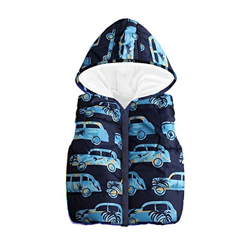 Londony▼ Clearance Sales,Little Boys Vests Outerwear Cute Car Print Faux Fur Jacket Warm Winter Hooded Clothes ()