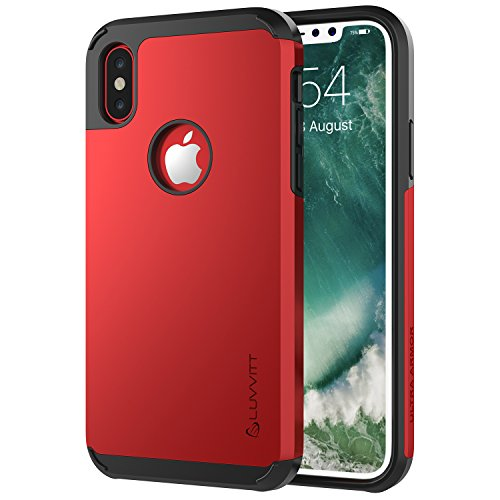 (LUVVITT iPhone Xs Case, Ultra Armor Cover with Dual Layer Heavy Duty Protection and Air Bounce Technology for iPhone X and XS with 5.8 inch Screen 2017-2018 - Red)