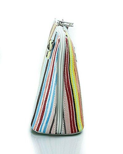 Piel italiana para pequeño Cruz Cuerpo Bolso o bolsa de hombro, azul (azul) - PS14 Stripy Multi Colours White