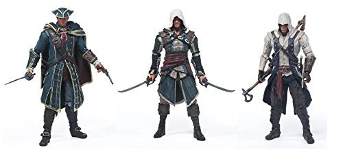 """McFarlane Toys Year 2013 Series 1 """"Assassin's Creed IV Black Flag"""" 6 Inch Tall Action Figures Includ :EDWARD KENWAY, CONNOR, HAYTHAM KENWAY"""