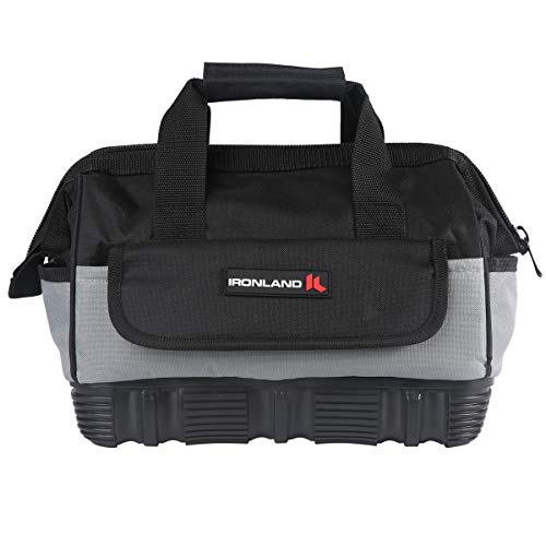 Mouth Pockets - 12-inch Tool Bag with Water Proof Molded Base, Wide Mouth Tool Storage Bag with 16-Pocket