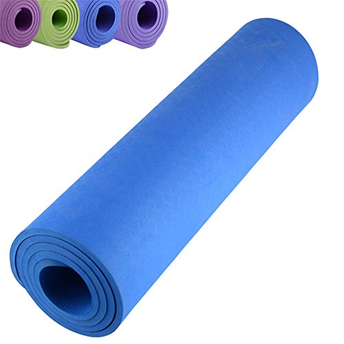 Yoga Mat Non Slip Large Padded Eco Friendly SGS Approved 2/5-Inch (10mm) Gym Fitness Yoga Exercise Mats in Blue