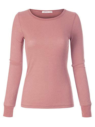 (Instar Mode Women's Plain Basic Round Crew Neck Thermal Long Sleeves T Shirt Top Dusty Pink L)