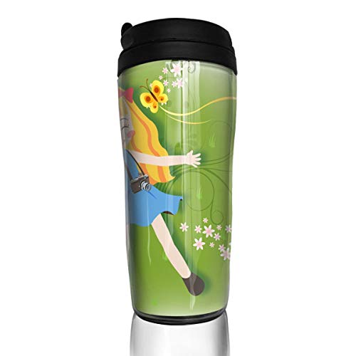 Bei Tang Coffee Cup Girl Enjoying Picnic Travel Tumbler Insulated Leak Proof Drink Containers Holder Personalized 12 ()