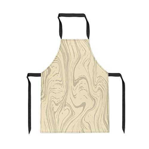Pinbeam Apron Brown Line Wood Pattern Marble Gray Organic Abstract with Adjustable Neck for Cooking Baking Garden