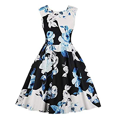 Dresses for Womens,DaySeventh Women Vintage Bodycon Sleeveless O Neck Evening Printing Party Prom Swing Dress