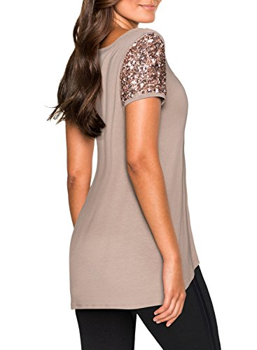 5b01887f4788b ... WLLW Women Khaki Asymmetric Hem Short Sleeve Sequin Inserts Shirt Top  ...