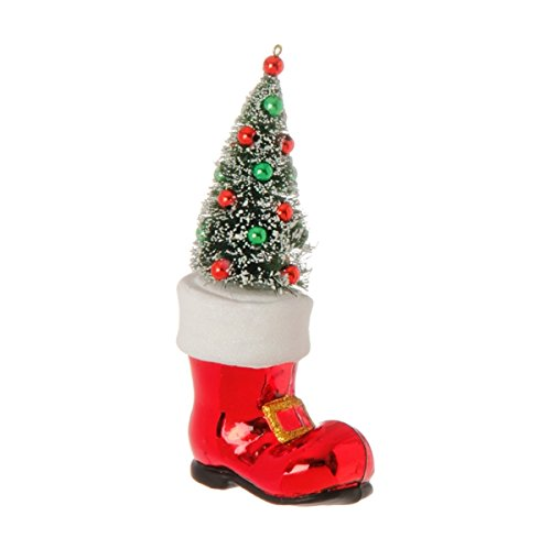 Santa Claus' Boot with Decorated Christmas Tree Glass Ornament, 7 Inch (7 Inch Glass Ball Christmas Ornament)
