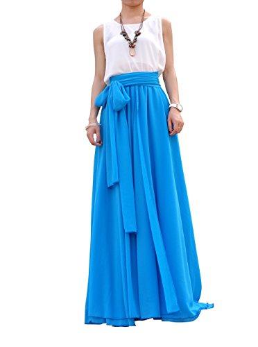 MELANSAY Women's Beatiful Bow Tie Summer Beach Chiffon High Waist Maxi Skirt XXXL,Dodger Blue
