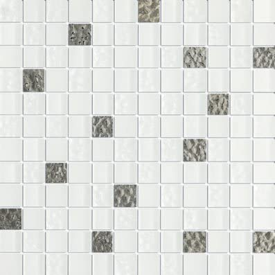 1x1 White Glass Tile Marble n things Ice Prince