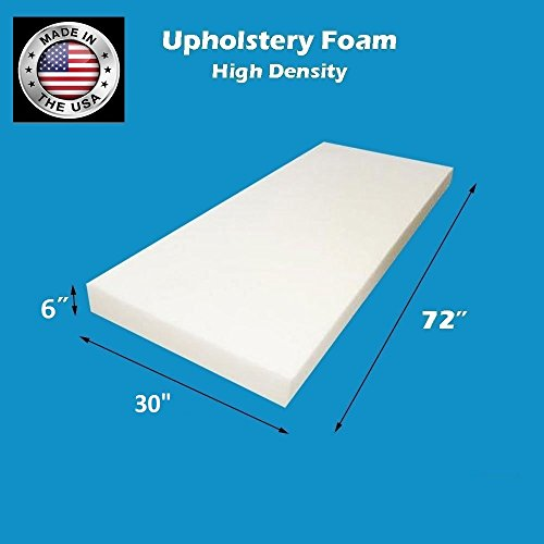 FoamTouch Upholstery Foam Cushion High Density 6'' Height x 30'' Width x 72'' Length Made in USA by FoamTouch