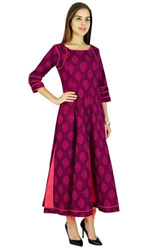 Amoghah Anarkali Magenta Cotton Kurti Indian Flaired Blouse Women Kurta Gift