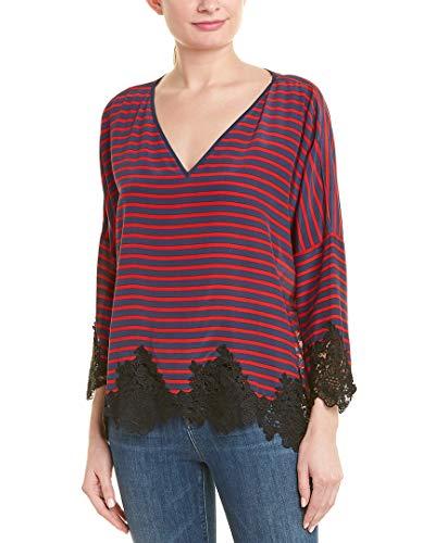 Gold Hawk Womens Lace-Trim Silk Top, S, Blue