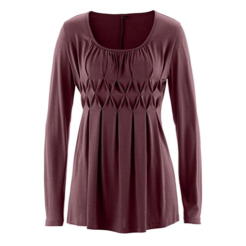 Wintialy Women Casual Basic Solid Row Pleats Ruched O-Neck Long Sleeve Top T-Shirt Blouse (Wine, (Pleats Wallet)
