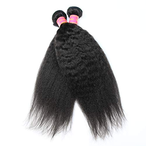 - Lezaxiu Kinky Straight 2 Bundles Brazilian Vigin Hair Weave Bundle Coarse Yaki Human Hair Bundles Yaki Straight Hair Extensions Remy Hair Natural Color (2pcs 8 8inch)