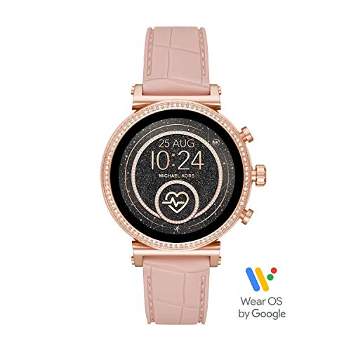 Michael Kors Access Women's Sofie Heart Rate' Stainless Steel Touch-Screen Smartwatch with Silicone Strap, Pink, 18 (Model: MKT5068)