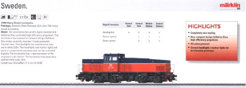 Marklin Swedish State Railways Heavy Diesel HO scale  - Locomotive Marklin