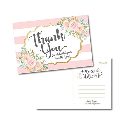 25 Girl Baby Shower Thank You Note Card Bulk Set, Floral Pink and Gold Blank Cute Sprinkle Postcards, No Envelope Needed Stationery Appreciation For Party Gifts, Personalize Printable Cardstock Paper