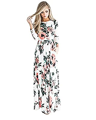 UNION FASHION LTD Women's Spring Fashion Printed Long Dress Three Quarter Sleeve Empire Flower Floor-length Dress