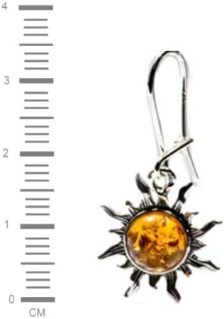 Boucles doreilles et pendentif Argent 925//1000 Noda Parure Soleil enflamm/é pour femme en ambre