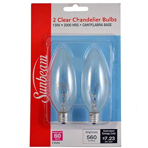 Sunbeam Light Bulb Clear, Chandelier, 60wt, 2pk best to buy