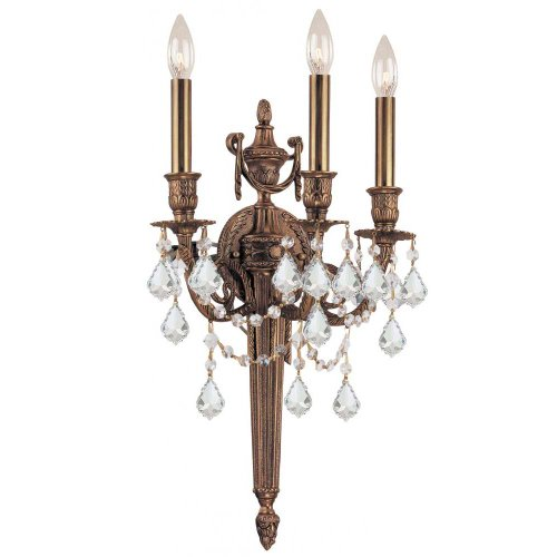 - Crystorama 753-MB-CL-S Crystal Accents Three Light Sconces from Arlington collection in Brassfinish, 7.00 inches