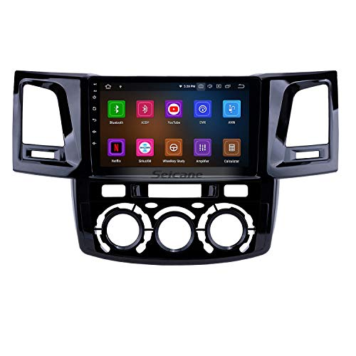 Android 9.0 9 inch GPS Navigation Radio for Toyota Fortuner/Hilux 2008-2014 Manual A/C LHD with HD Touchscreen Carplay Bluetooth USB Support TPMS DVR(8-Core, 4G+32G