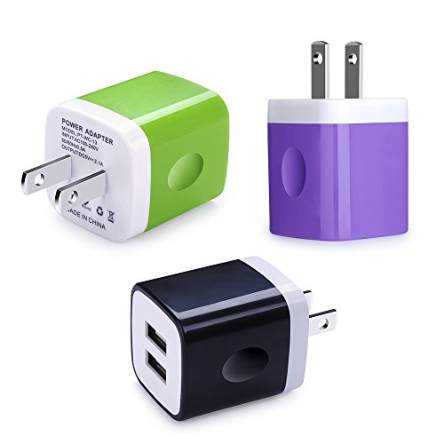 Charger Adapter Plug, Charger Brick, CableLovers 3-Pack Dual Port Wall Charger Adapter 2.1A Fast Charger Cube Phone Charger Box Charger Base for iPhone, iPad,Samsung Galaxy,any iOS or Android Devices