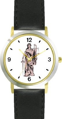 Statue of Justice: Blind-folded Holding Scales - WATCHBUDDY® DELUXE TWO-TONE THEME WATCH - Arabic Numbers - Black Leather Strap-Size-Children's Size-Small ( Boy's Size & Girl's Size )