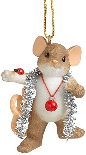 Charming Gift - Enesco Charming Tails Gift Wrapped in Tinsel Ornament, 2.125-Inch