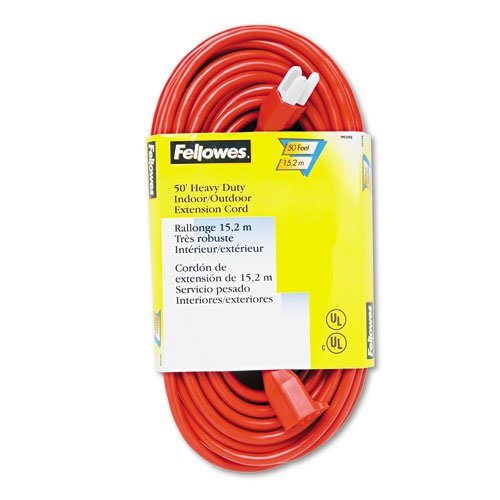 Fellowes : Indoor/Outdoor Heavy-Duty 3-Prong Plug Extension Cord, 1 Outlet, 50-ft., Orange -:- Sold as 2 Packs of - 1 - / - Total of 2 (Fellowes Orange Indoor Extension Cord)