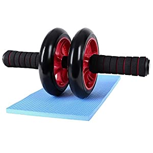 Songmics Bauchtrainer Roller AB Wheel mit Knie Pad Rot SPU75R