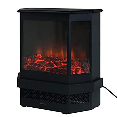 """Giantex Free Standing 23"""" Electric Fireplace 1500W Adjustable Heater Fire Tempered Glass"""