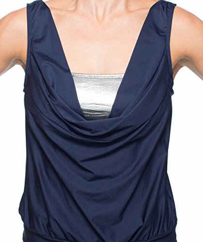 LUXE, by Lisa Vogel Women's Premier Removable Soft Cup Drape Tankini, Navy, 8