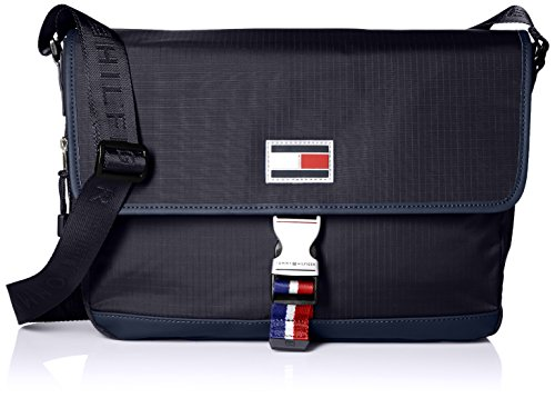 Tommy Hilfiger Messenger Bag for Men TH Sport Eyelets Ripstop, Navy by Tommy Hilfiger