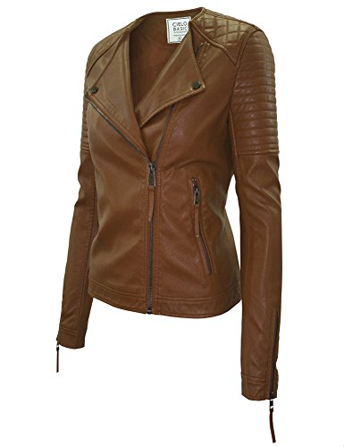 Cielo Women's Slim Quilted Double Breasted Moto Biker Faux Leather Jacket Camel XL (Cropped Jacket Brown)