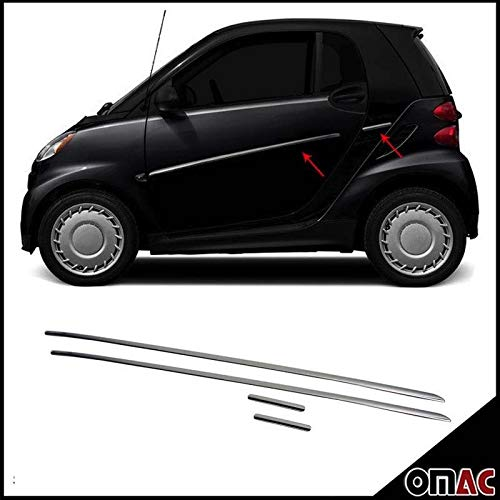 (OMAC USA Stainless Steel Chrome Side Body Molding Protector Double Sliding Door 4 Pcs. for Smart FORTWO W451 W450)