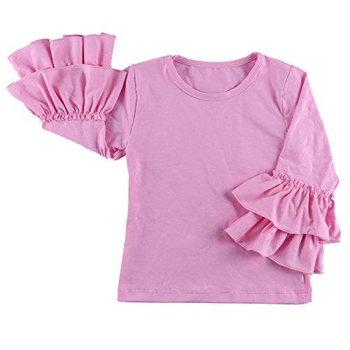 08 Apparel Tee - Wennikids Little Girls' Long-Sleeve Ruffle T-Shirt Large Pink