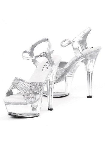 Ellie Chaussures Femmes 6 Pouces Talon Glitter Sandal Paillettes Dargent