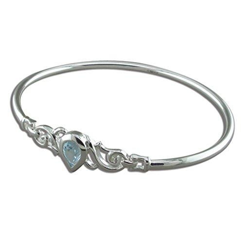 En argent Sterling avec topaze bleu topaze Bracelet fantaisie en forme de tourbillon