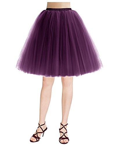 Bridesmay Jupon Jupe Tutu en Tulle 5 Couches rtro Vintage Couleurs varies Grape