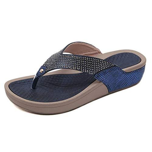 Women Floral Beaded Sequin Embellishment Mesh Slippers Flip Flop Sandal Wedge Platform Shoes,Blue,8
