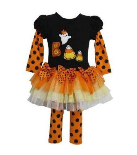 Bonnie Jean Girls Halloween BOO Candy Cane Fall Dress Outfit Set w/ Leggings, Black (6-9 -