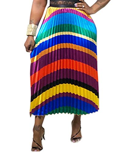 Womens Graffiti Pleated Skirts Color Block Letter Print Elastic Waist Long Swing Vintage A-Line Midi Skirt Stripes #2 XL