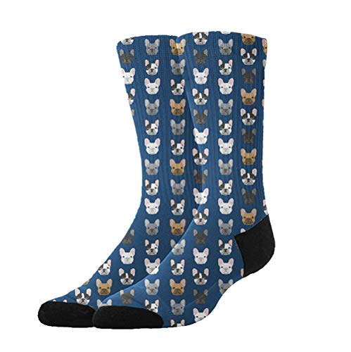 YEAHSPACE Women Girls French Bulldog Navy Blue Anti-Slip Soft Cotton Crew Socks Winter Socks Athletic Socks - Colorful Fancy Crazy Design