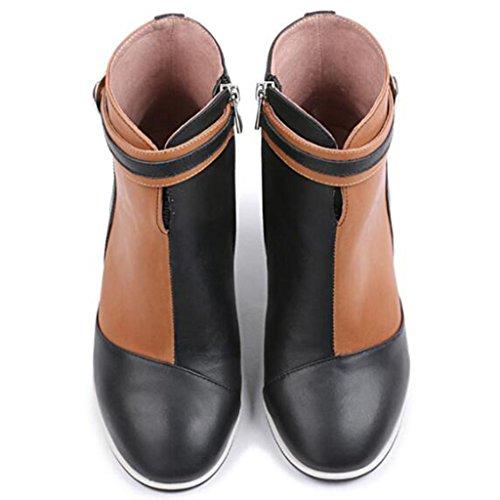 et Automne Bottes Hiver aux Cheville Bottes 36 Black with Bottes Mme Martin Courtes de Rough Rétro Dames Femmes w5qCdOw