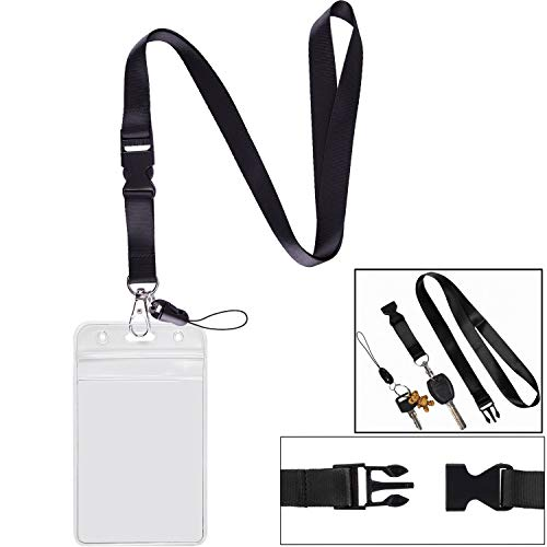 1 Pack ID Badge Holder with Black Lanyards Neck Strap Detachable Buckle Enhanced Breakaway Quick Release Safety Lanyard with Vertical Name Tag Card Holders Zipper Waterproof Resealable Clear Plastic