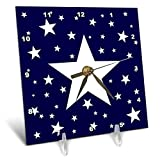 3dRose Alexis Design - America - Fifty Stars Of Freedom. Large, small white stars on navy blue - 6x6 Desk Clock (dc_288371_1)